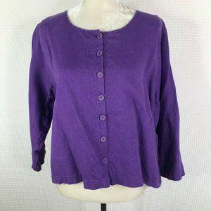 Flax Top Medium M Purple 100% Linen Shirt Boxy